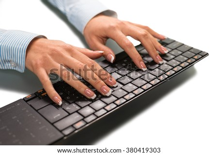Businesswoman typing. A fresh report. The anticipated news. An important letter.