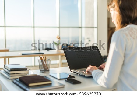 Excellent Woman Working Home Office Hand On Stock Photo 370595594 Shutterstock Largest Home Design Picture Inspirations Pitcheantrous
