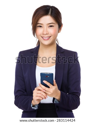Businesswoman use of the smart phone