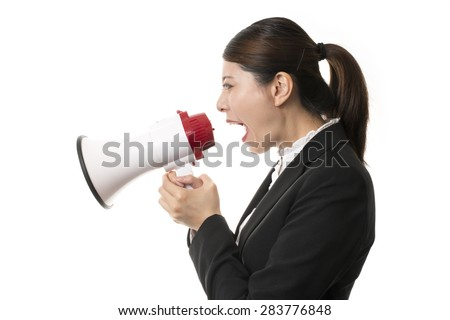 Businesswoman Using a Megaphone Speaking