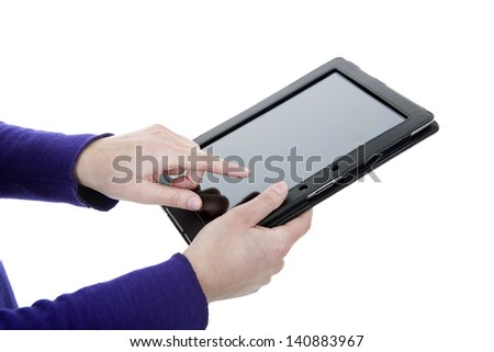 businesswoman using a tablet pc, close up shot, isolated