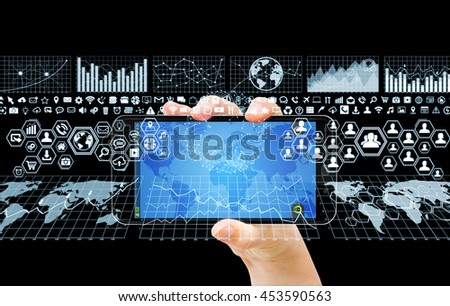 Businesswoman using digital tactile charts screen with his mobile phone '3D rendering'