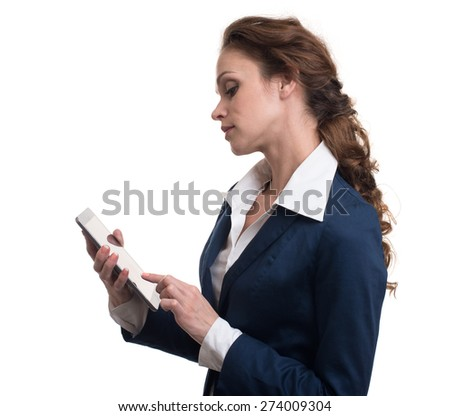 businesswoman using tablet computer - isolated on white background - stock photo