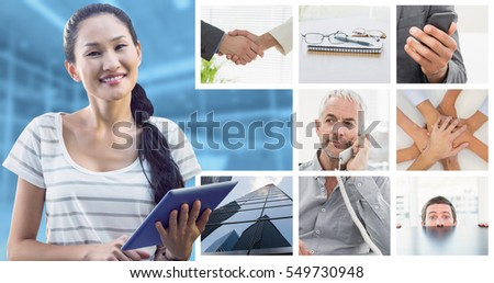 Businesswoman using tablet in the office against modern room overlooking city