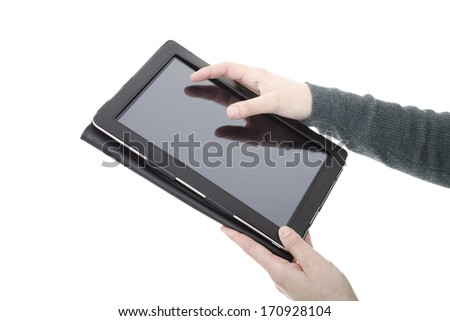 businesswoman using touch pad, close up shot on tablet pc, isolated