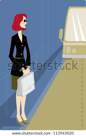 Businesswoman waiting for a bus - stock photo