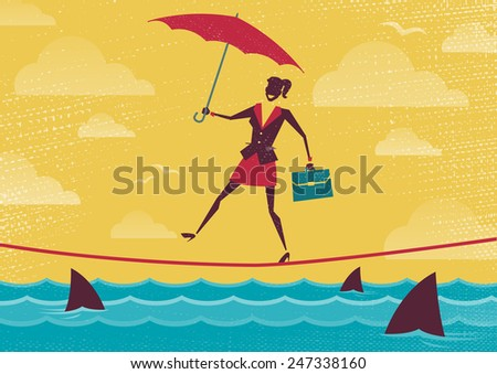Businesswoman walks Tightrope with Umbrella. Great illustration of Retro styled Businesswoman walking carefully across a very high tightrope with her umbrella for added protection. - stock photo