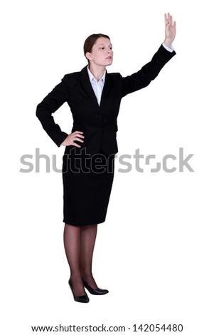 Businesswoman waving - stock photo