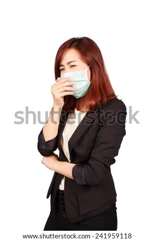 businesswoman wearing a face mask protect infected - stock photo