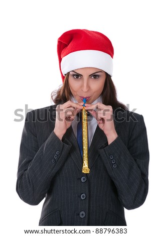 businesswoman wearing a santa's hat, isolated on white background - stock photo