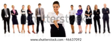 businesswoman welcoming you to her team over white - stock photo
