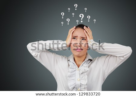 Businesswoman. Were headache and frustrated. Asian woman with head pain on white background.