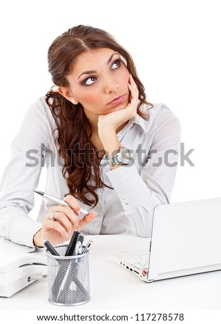 Businesswoman whit laptop thinking and looking up - stock photo
