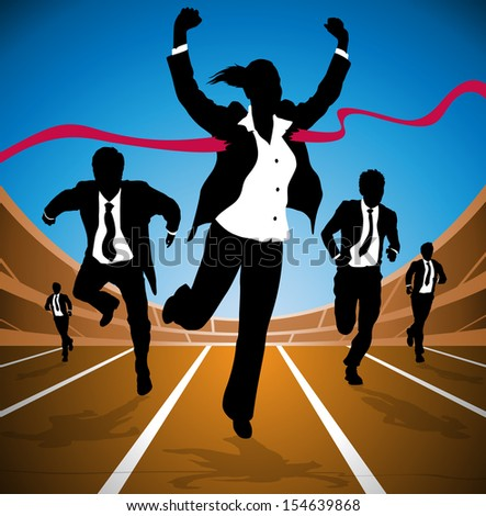 Businesswoman wins the Race  - stock photo