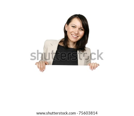 Businesswoman with a blank billboard - stock photo