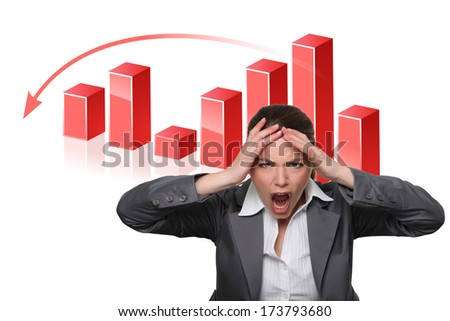 Businesswoman with a falling graph - stock photo