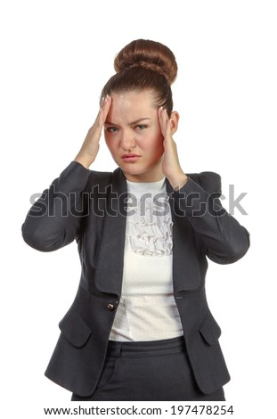 Businesswoman with a headache holding head, isolated on white background - stock photo