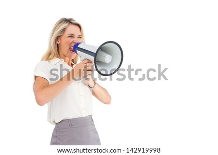 Businesswoman with a megaphone on a white background