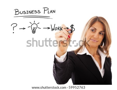 Businesswoman with a strategy plan to be successful in her business - stock photo