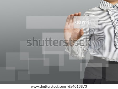 Businesswoman with blank icon of social network structure idea for business concept.