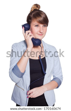 Businesswoman with blue telephone handset. Isolated on white background - stock photo