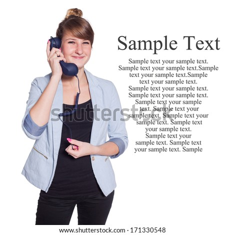 Businesswoman with blue telephone handset. Isolated on white background. Copy space, Easy to remove subtitles - stock photo