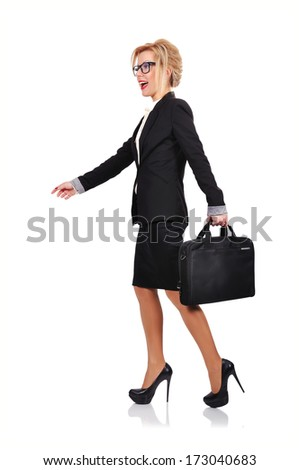businesswoman with briefcase walking on a white background