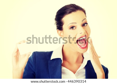 Businesswoman with businesscard. - stock photo