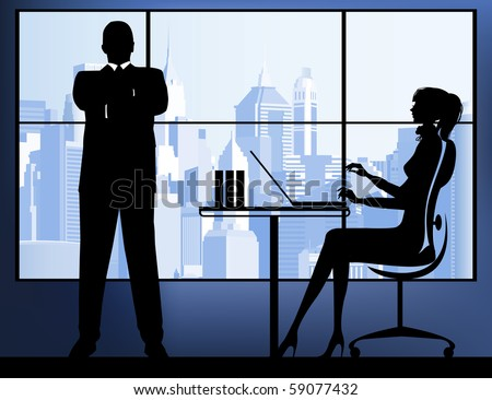 Businesswoman with businessman in the urban background. Raster version of vector illustration.