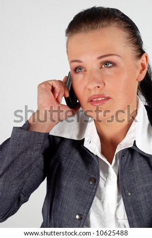 businesswoman with cell phone - stock photo