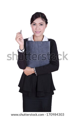 businesswoman with clipboard and pen isolated on white background