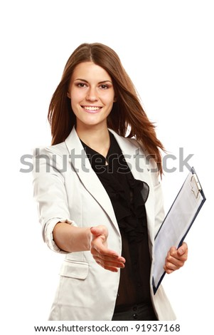 Businesswoman with clipboard offering handshake isolated on white background - stock photo