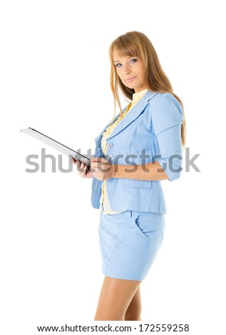 Businesswoman with clipboard stands on a white background.