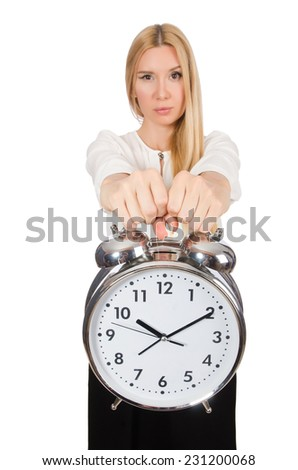 Businesswoman with clock isolated on the white background