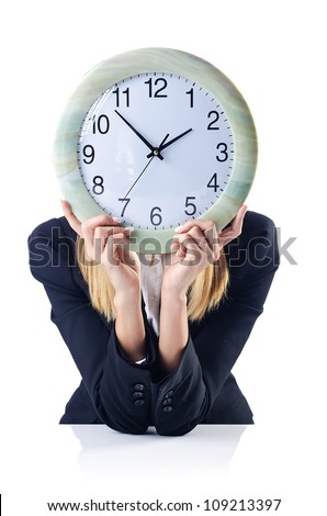 Businesswoman with clock isolated on white