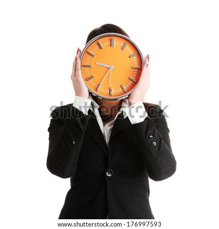 Businesswoman with clock, isolated on white - time concept