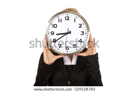 Businesswoman with clock - time concept.