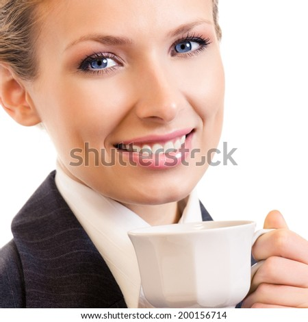 Businesswoman with coffee, isolated on white - stock photo