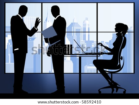 Businesswoman with colleagues in the urban background. Raster version of vector illustration. - stock photo