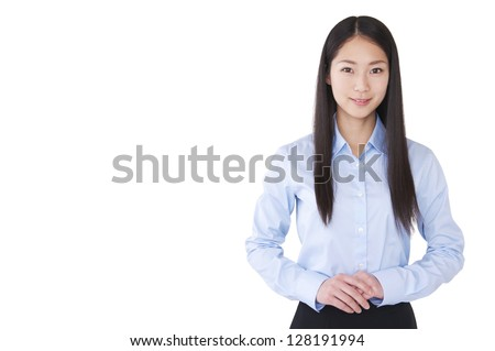 Businesswoman with crossed hands - stock photo