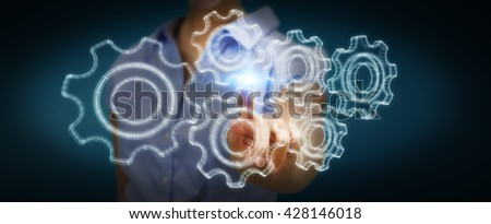 Businesswoman with 3D engine plan over his hand