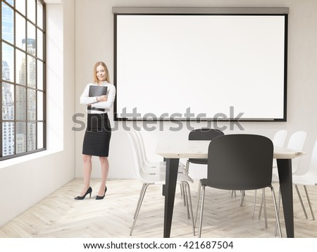 Businesswoman with document in hands standing in classroom interior with blank whiteboard and New York city view. Mock up, 3D Rendering - stock photo