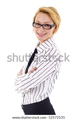 Businesswoman with eyeglasses standing with hand crossed - stock photo