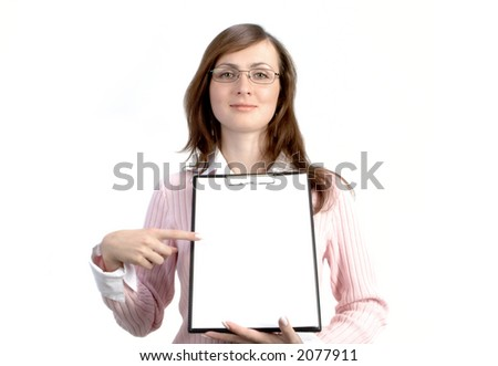 Businesswoman With Files Isolanted Over White Background