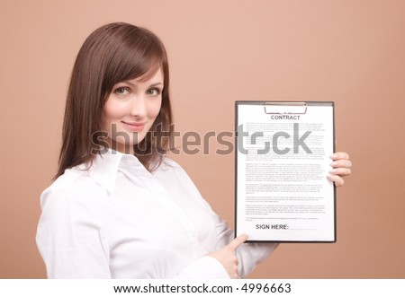Businesswoman with files isolated on beige