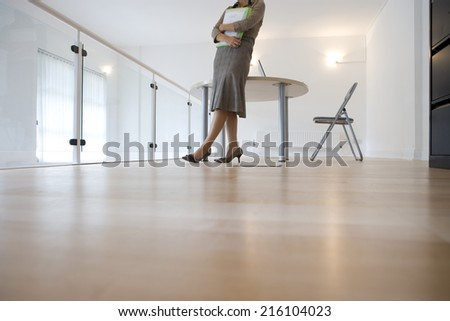 Businesswoman with files, low section