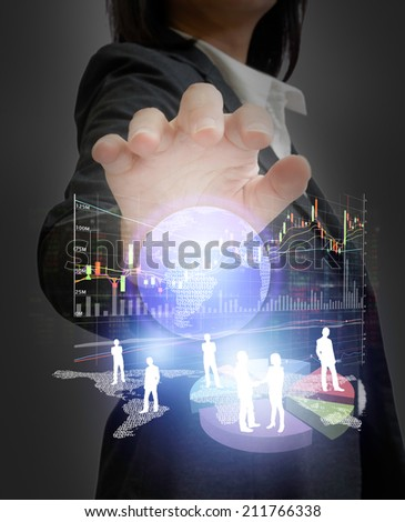 Businesswoman with financial concept  - stock photo
