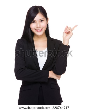Businesswoman with finger show out