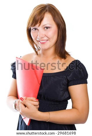 businesswoman with folder fo rdocument over white background
