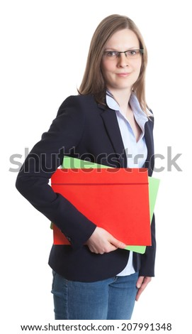Businesswoman with glasses and colorful documents